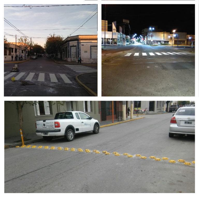 Se pintaron sendas peatonales y colocaron reductores de velocidad