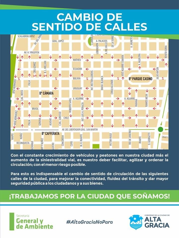 Comenzaron a regir los cambios en el sentido de las calles en Barrio Cámara