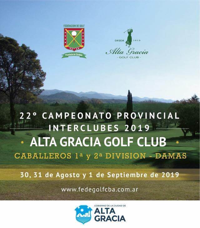 Alta Gracia será sede del 22º Campeonato Provincial de Golf